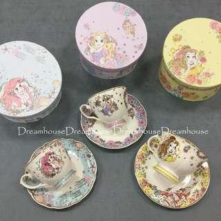 東京迪士尼 小美人魚 樂佩 貝兒 公主系列 咖啡杯+盤子+盒子 杯子 點心盤 禮盒組