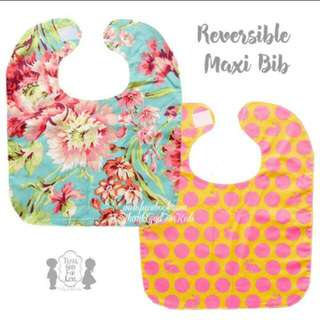 REVERSIBLE MAXI BIG BIB 2 LAYERS CUTE PRINT FEEDING CLOTH BIB (POLKA DOT RABBIT / BLISS)