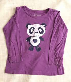 Charity Sale! Authentic H&T Purple Panda Long Sleeve Shirt Sweater for Girls Size 2
