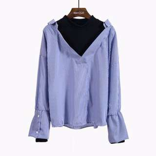 BLUE korean oversized two-piece blouse top