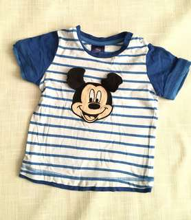 Charity Sale! Authentic Disney Burst Into Colours Size 1 12-18 Months Boys T-shirt Mickey Mouse