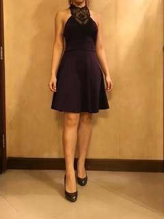 Primark purple halter neck A-line midi dress