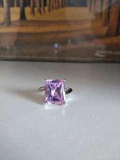 925純銀紫水晶 藍 戒指 介子 12號圈 silver ring