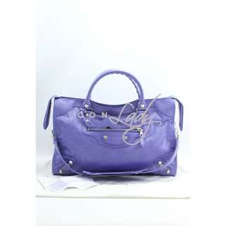 BALENCIAGA 281770 Giant 12 Silver City 粉紫色 (Mauve) 銀扣手提袋 肩背袋 手袋