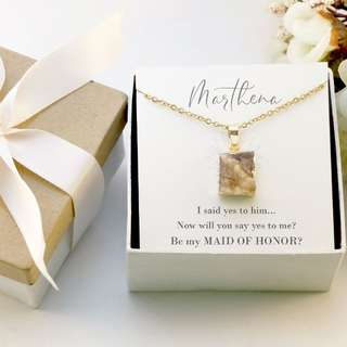 Geode Druzy Agate Necklace - Bridesmaid Proposal Gift