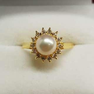 Culture Pearl Diamonds Ring