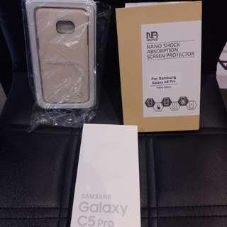 保證全新  Galaxy C5 Pro 金色限量版 一年保養  盒末開