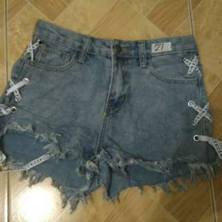 High Waist Denim Short P100