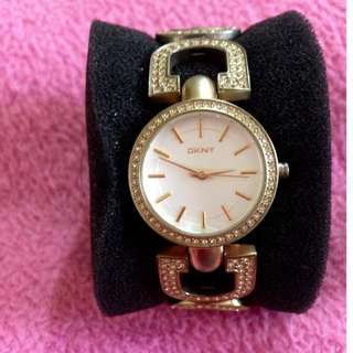 SALE! Authentic DKNY Gold Watch with stones