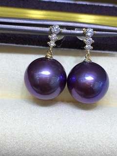 18K金耳釘,12一13mm極品濃郁紫,紫的讓人驚豔, 38節超值價發售,歡迎搶購🤗