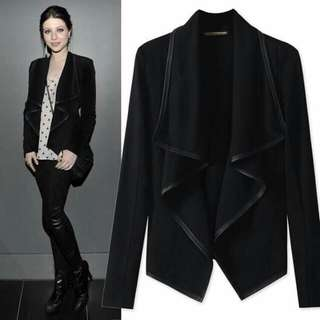 PU leather blazer