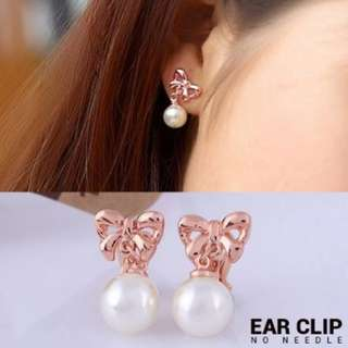 02F8F0r-Anting- Bow Knote Copper Pearl Ear Clip No Needle Rose Gold Ear Clip