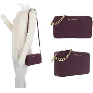 全新保証正品 Michael Kors MK Woman Bag Jet Set Travel Crossbody #Plum 經典迷你斜揹袋 真皮 女裝 手袋 名牌 女朋友 禮物