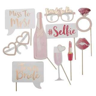 10pcs Wedding Bachelorette Hens Photo Booth Props