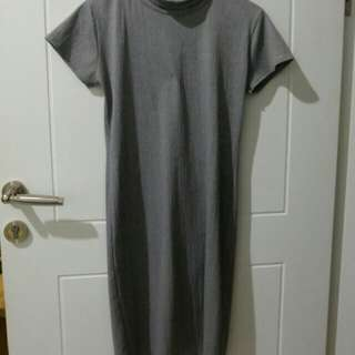 Preloved dress abu-abu IDR 50rb