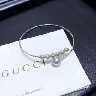 新穎時尚18K金真多麻氣質灰akoya彈力手鐲  珍珠4-8.5mm,正圓無暇。