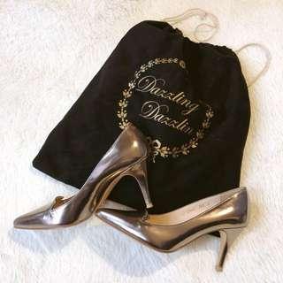 正韓貨 設計師訂製款 Dazzlingdazzlin 真皮尖頭超美光澤感高跟鞋