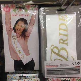 Bride to be sash hens party wedding