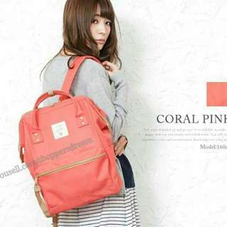 ✳ Coral Pink Authentic Anello Canvas Backpack