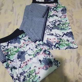 Plains and prints top and pants