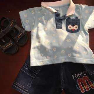Sale!!! Bundle crib couture polo shirt and maong shorts