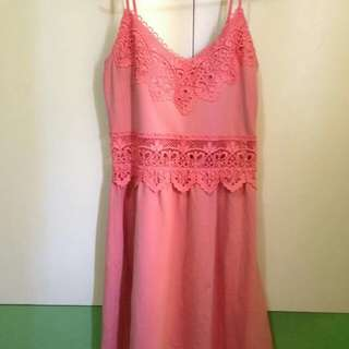 Topshop Petite Summer Dress in Peach/Coral