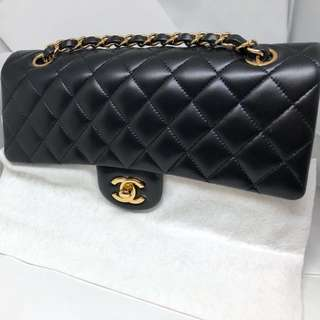 Chanel Classic Coco 25cm 黑金羊皮