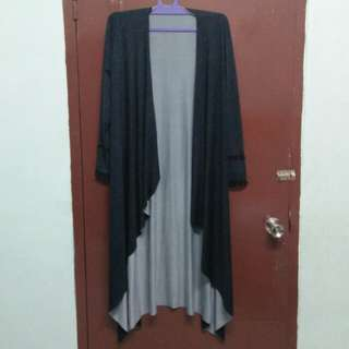 Black Long Outer with Tiny Dots