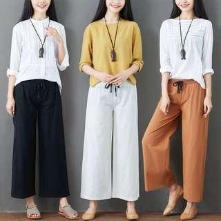 (M~2XL) Cotton pants female thin casual linen loose loose elastic waist nine points wide leg pants