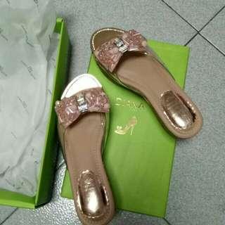 Diana粉水晶涼鞋透明pvc