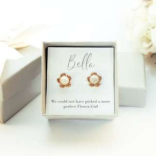 Flower & Pearl Rose Gold Earrings - Wedding Gifts