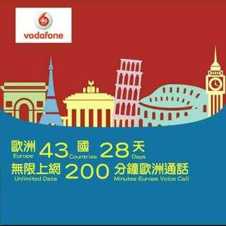 Europe 歐洲 上網卡 28天 4G 1GB +無限數據卡 + 200分鐘歐洲免費通話 SIM CARD