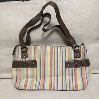 Authentic RELIC Stripes Canvas and Leather Shoulder Bag