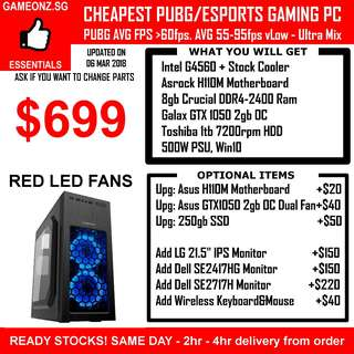 CHEAP BUDGET ESPORTS GAMING DESKTOP PC G4560 NVIDIA GTX 1050 CSGO DESTINY LOL GEX1050 1060 PUBG AFFORDABLE