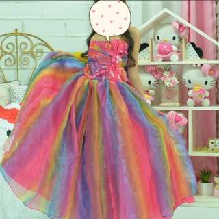 Custom Made Rainbow Ball Gown, Rainbow Unicorn Costume