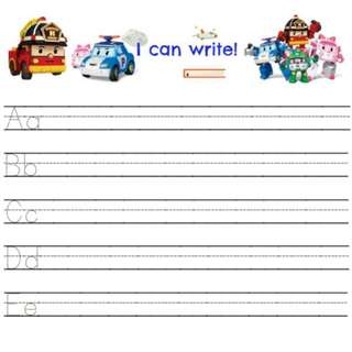 Robo Poli: Children writing worksheets