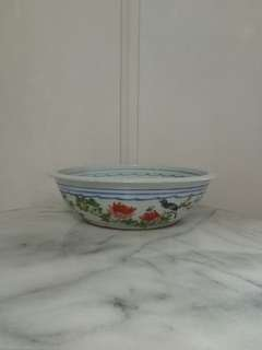 50s porcelain hand painted flowers and bird height 8.5cm perfect condition