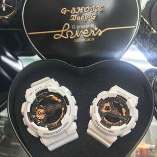 Rose gold white couple watch