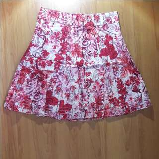 Red printed A-line skirt