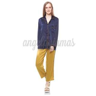Navy-Mustard Satin Pyjamas
