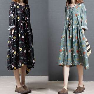 (M~2XL) Floral dress in the long section of the national collar cotton thin section skirt
