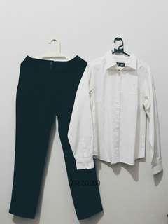 (1 set) Kemeja Putih + Celana Scallop