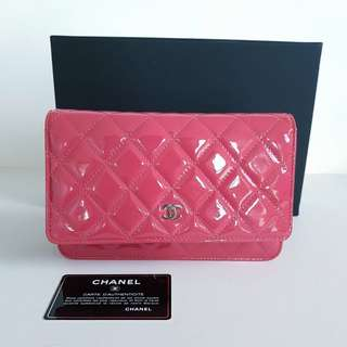 Authentic CHANEL classic dark pink WOC wallet on chain