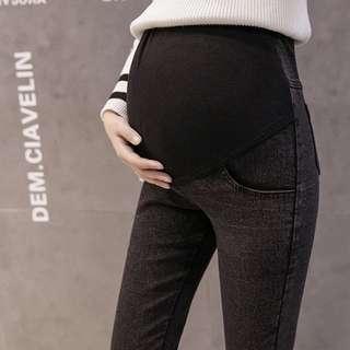 孕婦裝-顯瘦牛仔褲