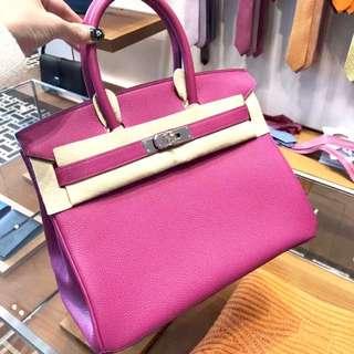 正品 全新 Hermes Birkin 30 L3 最新紫紅色銀扣 靚!