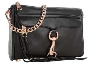 Rebecca Minkoff Black&RoseGold Mini Mac玫瑰金斜背包