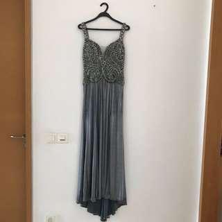 Beaded Silver Grey Dress / Evening Gown / Wedding Dress