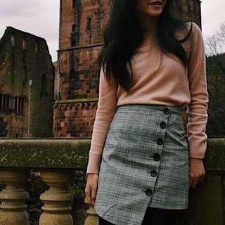 Button Up Plaid Skirt