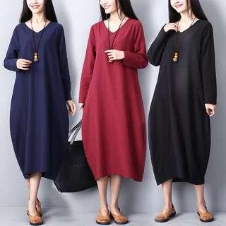 (M~2XL) V-neck dress vertical stripes long-sleeved skirt skirt