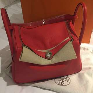 Hermes Lindy 30 Brand New tomato Red